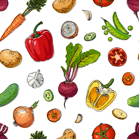 The pattern of painted colored vegetables line drawn on a white