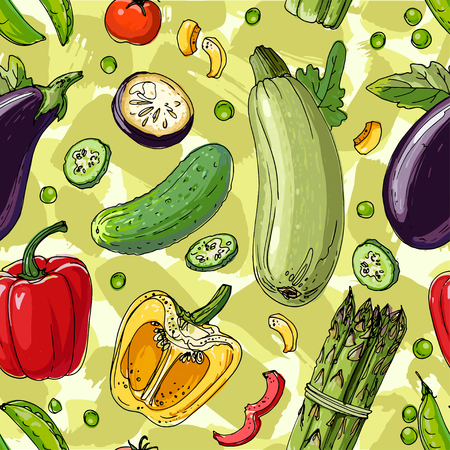 The pattern of painted colored vegetables line drawn on a green