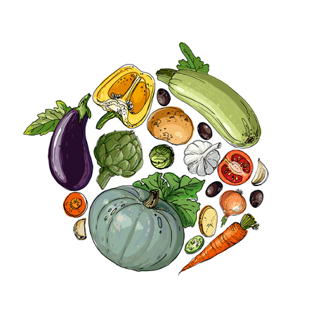 Circle of colored vegetables