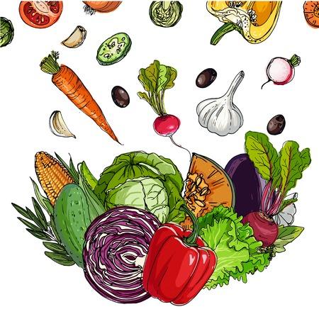 Vierkant van gekleurde groenten