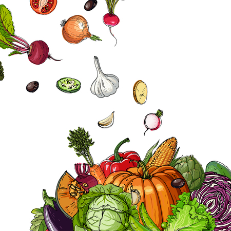Pumpkin, artichokes, beets, asparagus, corn, garlic, tomato line