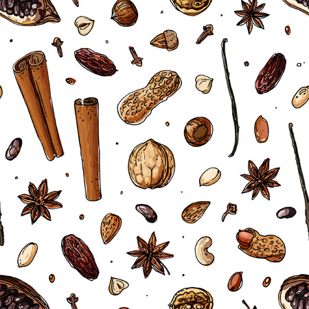 Pattern Nuts and spices line drawn on a white background. Sketch