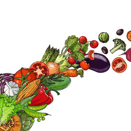 Vegetables. Fresh food. Pumpkin, artichokes, beets, asparagus, corn, garlic, tomato line drawn on a white background. Vector illustration. Stok Fotoğraf - 102050351