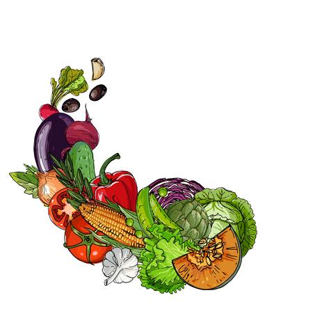 Groenten. Vers voedsel. Pompoen, artisjokken, bieten, asperges, maïs, knoflook, tomaat lijn getekend op een witte achtergrond. Vector illustratie.