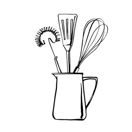 Kitchen tools. Whisk, spoon, spatula. Vector sketch of food in ink on a white background.