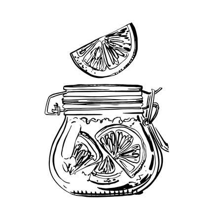 A jar of orange jam. Vector sketch of food in ink on a white background.