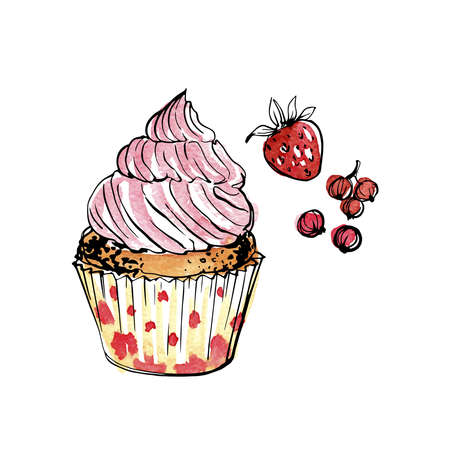 Cupcakes with berries. Sweet pastries. Ink sketch of food by line on white background.