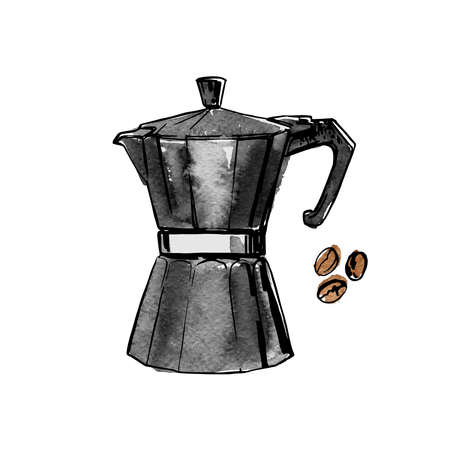 Mocha coffee pot. Vector sketch of food in ink on a white background. Stock Illustratie