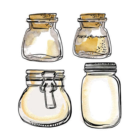 Glass jars with a lock. Vector sketch of food in ink on a white background.