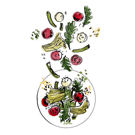 Salad toss. Cherry tomatoes, beans, arugula, cheese. Vector sketch of food in ink on a white background.