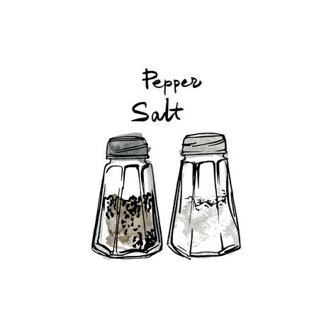 Glass jars salt and pepper. Vector sketch of food in ink on a white background.