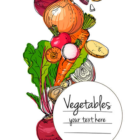 Vegetables. Fresh food. Zucchini, eggplant, cucumber, peppers, peas, tomatoes, asparagus line drawn on a white background. Vector illustration.