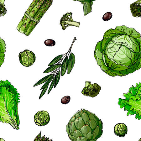 The pattern of painted colored vegetables line drawn on a white background. Skertch autumn harvest. Stock Illustratie