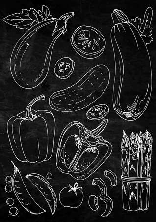 Set of vegetables. Fresh food. Zucchini, eggplant, cucumber, peppers, peas, tomatoes, asparagus line drawn on a black background. Vector illustration. Coloring for adults