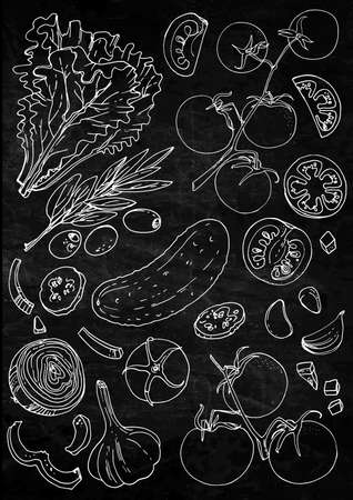 Set of vegetables. Fresh food. Lettuce, tomatoes, cucumber, olives, garlic line drawn on a black background. Vector illustration. Coloring for adults