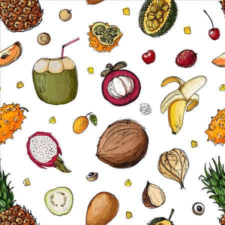 Pattern of exotic fruits on a white background. The sketch of the food is a line.