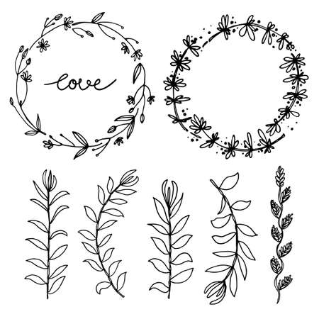 Herbs and flowers painted black line. Space for text. Vector drawing.