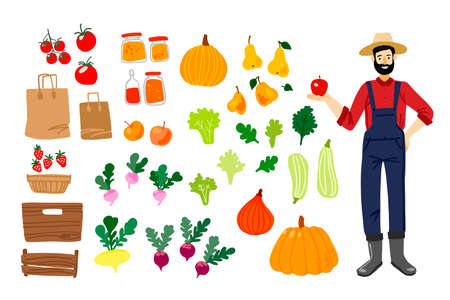 Happy farmer shows an apple. Local food, vegetables and fruits. Vector drawing. Zero packing