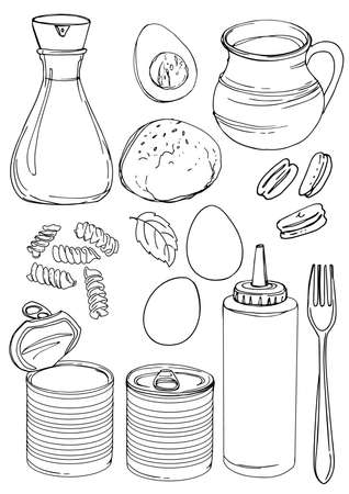 Food drawn by a line on a white background