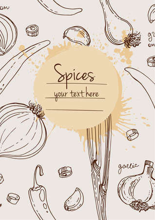 Herbs. Spices. Herb drawn black lines on a white background. Vector illustration. Background with herbs with window for text
