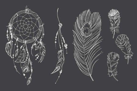 Dreamcatcher hippie decoration tattoo vector line. Boho style, beads and feathers. Illustration art Vector Illustration