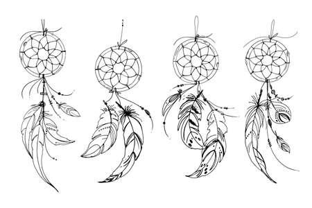 Dreamcatcher hippie decoration tattoo vector line. Boho style, beads and feathers. Illustration art Ilustración de vector