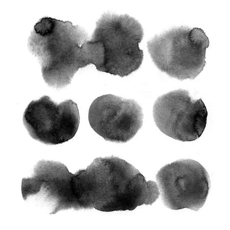 Watercolor background for textures. Abstract watercolor background. Spray paint, ink stains on the paper. Black, monochrome texture