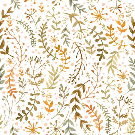 Pattern of flowers and grasses painted with watercolors on white background. Green leaves and flowers on a white background color
