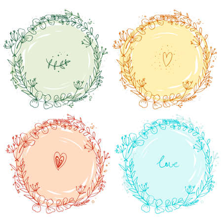Pattern of flowers painted in watercolor on white paper. Sketch of flowers and herbs. Wreath, garland of flowers. Vector color
