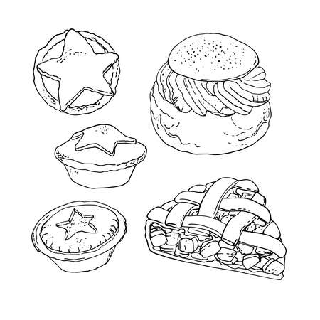 National pastries and sweets. Buns, semla, apple pie, mince pie. Vector drawing of food
