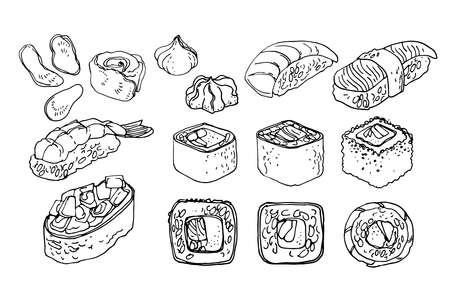 Japanese food, sushi and rolls, unagi. Vector drawing of food.