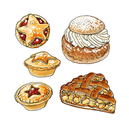 National pastries and sweets. Buns, semla, apple pie, mince pie. Vector drawing of food.