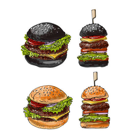 Burgers are fast street food. Vector drawing of food. Unhealthy food