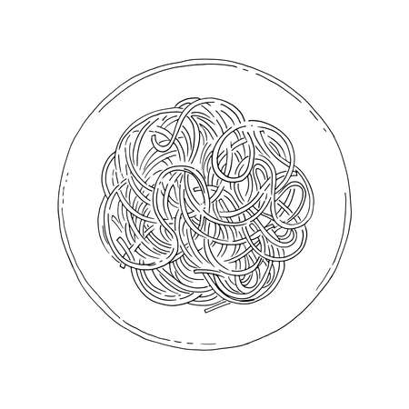 Spaghetti. Pasta painted line vector on a white background. Color sketch of food. Italian food. 矢量图像