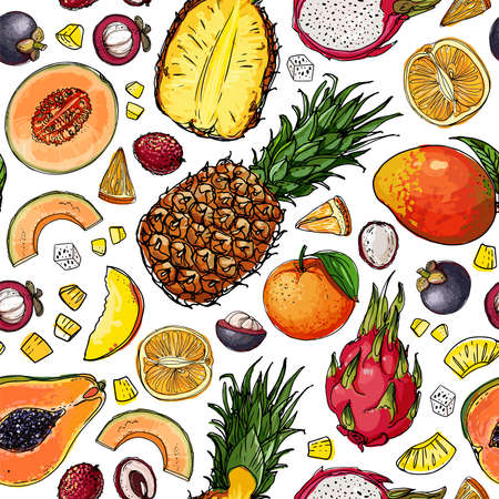 Seampless pattern vector color food. Exotic fruits and berries