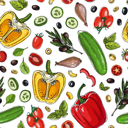 Seampless pattern vector color food. Vegetables, paprika, cucumbers, olives