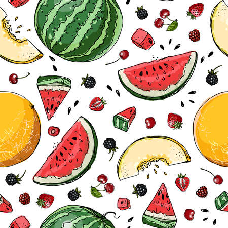 Vector pattern from different fruits. Colored sketch of food. Summer ornament, melon, watermelon, berries.