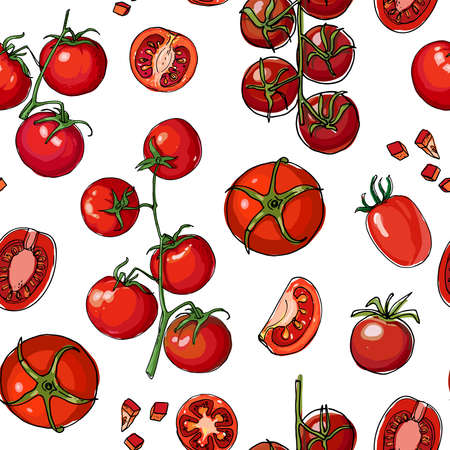Seamless pattern vector vegetable food. Herbs and spices, tomatoes and spinach