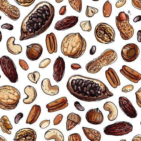 Nuts Seamless pattern vector color food. Walnuts, cocoa, cashews, dates, hazelnuts 矢量图像