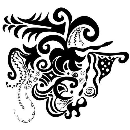 digital illustration of swirls and scrolls – black on white Stock Illustration - 499428