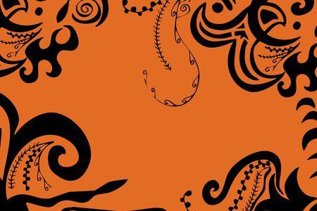 digital illustration of swirls and scrolls – black on orange Stock Illustration - 499424