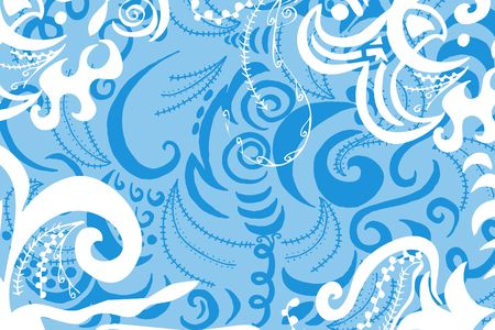 digital illustration of swirls and scrolls – pastel blue and white Stock Illustration - 541233
