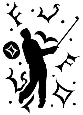 hand-drawn shape of a man playing golf on a swirl and scroll background photo