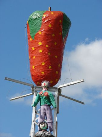 Big Strawberry with scarecrows