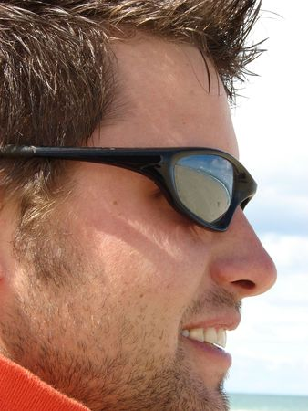 Profile of Young Male Model on the beach