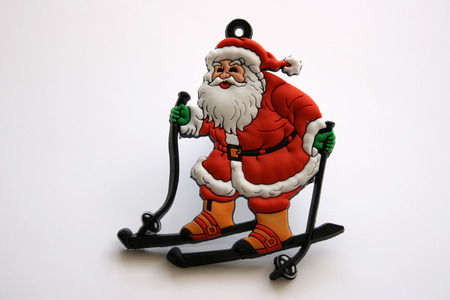 skying: Santa Clause on a white background Stock Photo