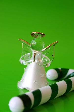 candy stick: Glass Angel and Green and white candy stick