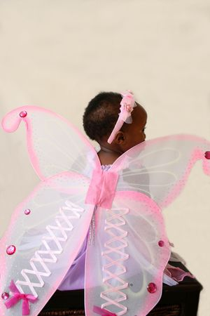 alice band: Toddler girl in a pink fairy costume with wings and head piece