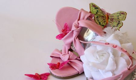 flowergirl: Pink leather girl shoes with white rose and butterflies