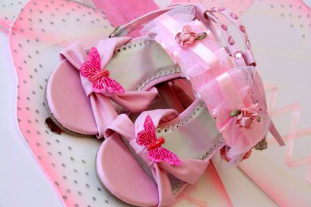 flowergirl: Pink shoes and accessories in large butterfly wings